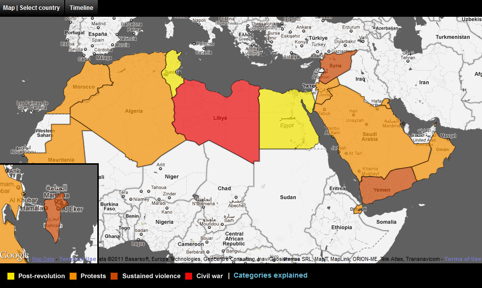 Arab World – Map of the Arab Spring